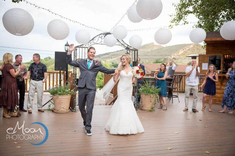rustic wedding bride and groom grand entrance