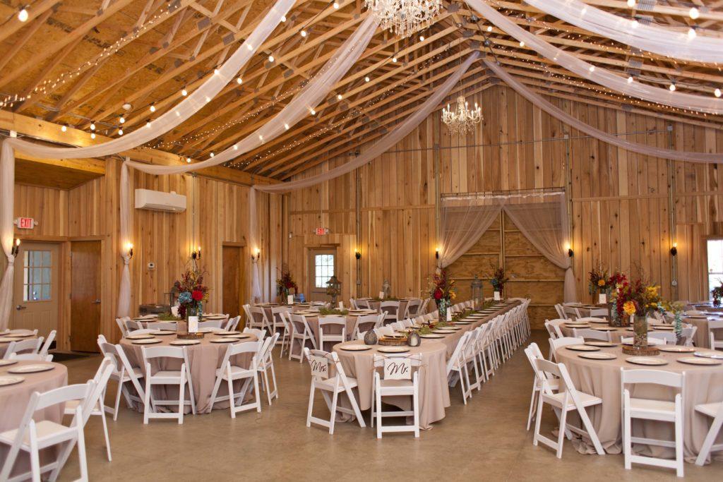 Barn wedding reception decor at barn wedding venue The Barn at Hawks Point in Anderson, Indiana