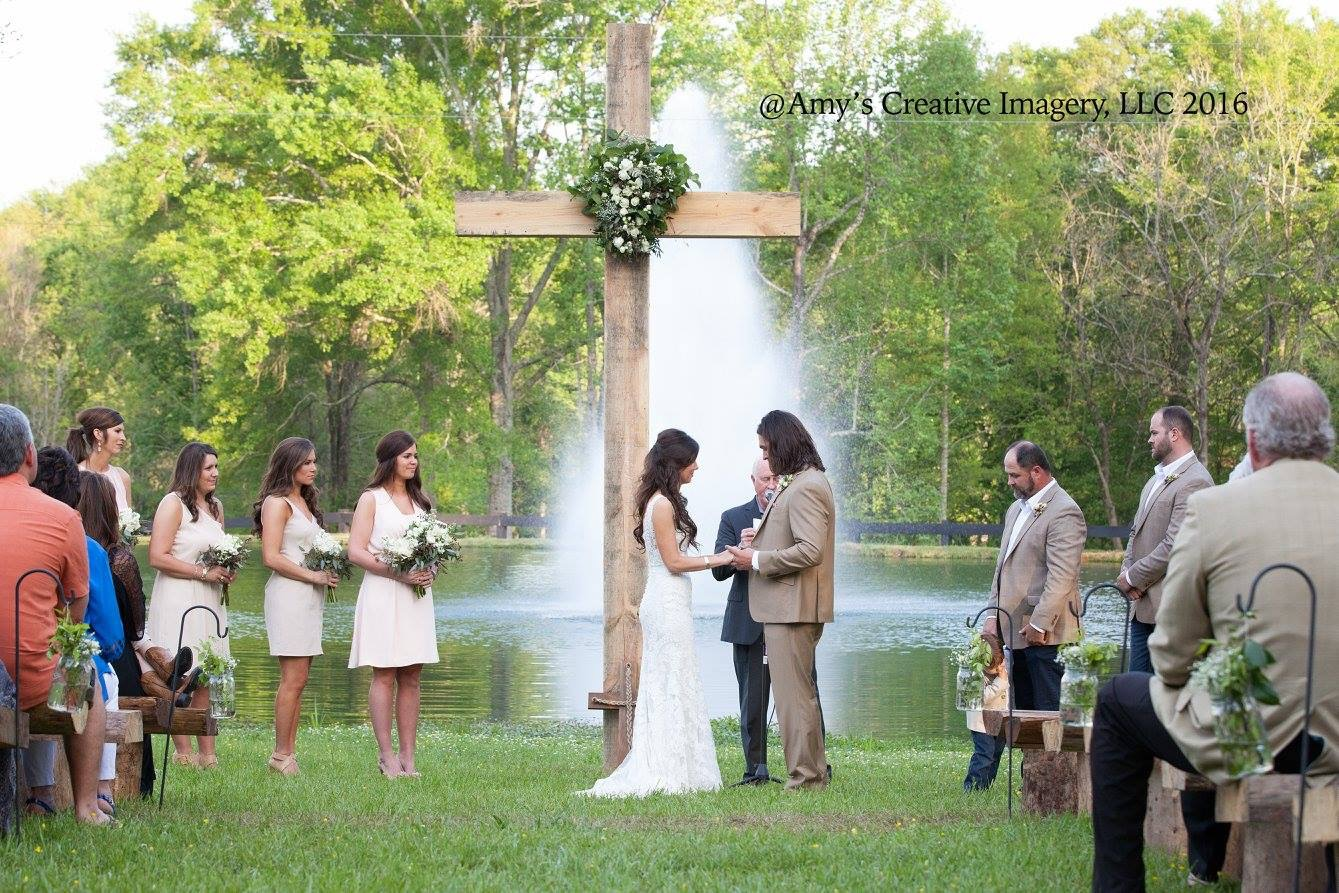 Bride And Groom Say Their Vows At Barn Wedding Venue The Hideaway Reeds Estate In