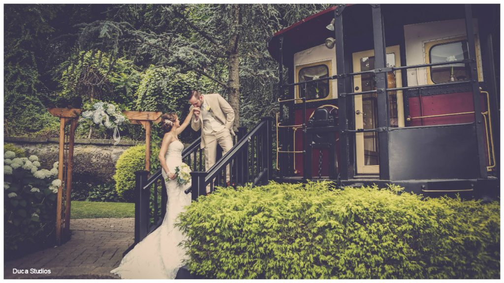 Bride and groom at rustic wedding venue Columbia Station in Phoenixville, Pennsylvania