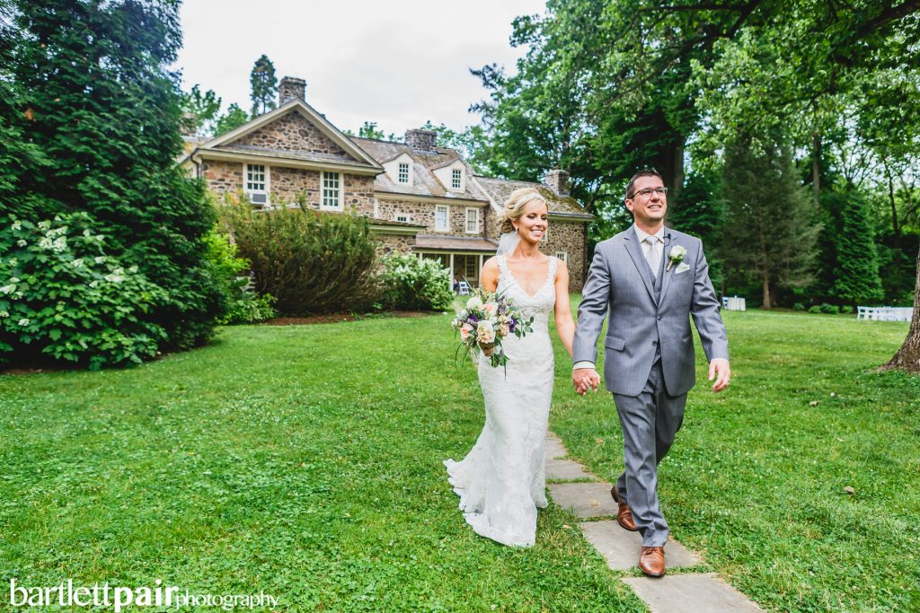 Bride and groom at rustic wedding venue Anthony Wayne House in Paoli, Pennsylvania