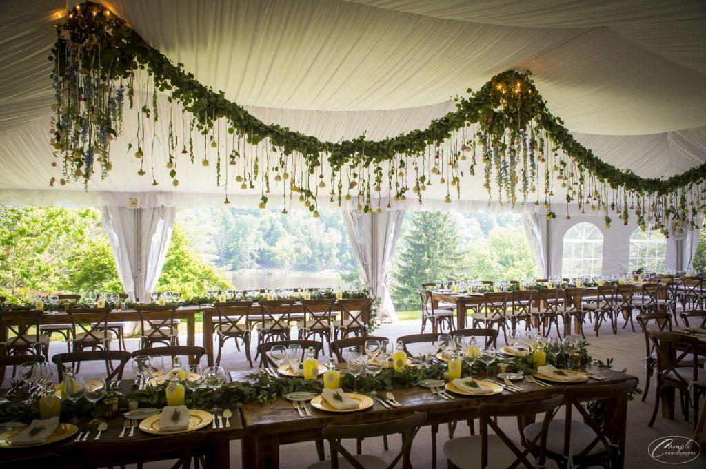 Rustic wedding reception Welkinweir Estate in Pennsylvania