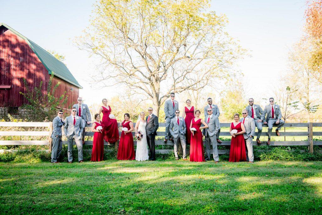 Bridal party at Indianapolis barn wedding venue The Barn at Hawks Point