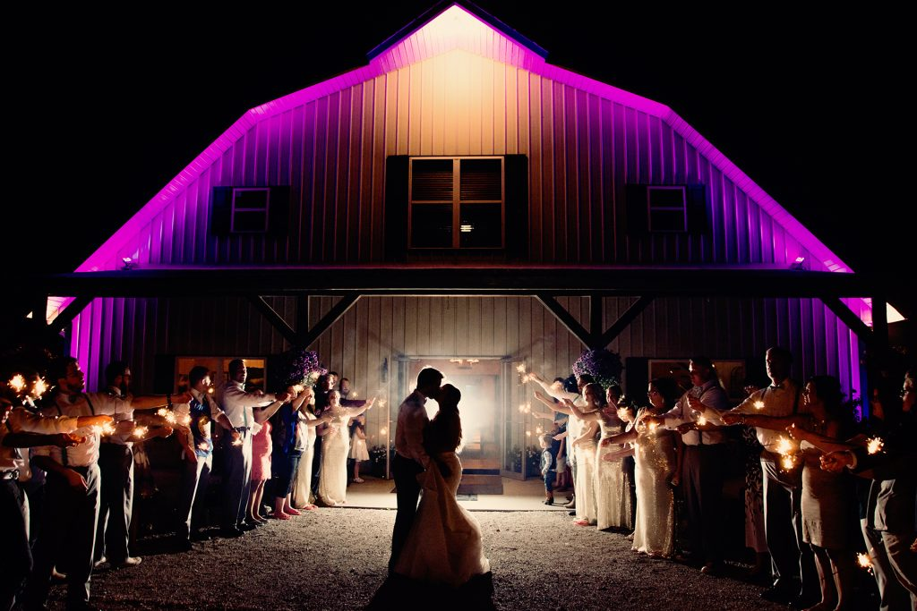 Wedding sparklers at country wedding venue Berry Acres in Odessa, Missouri