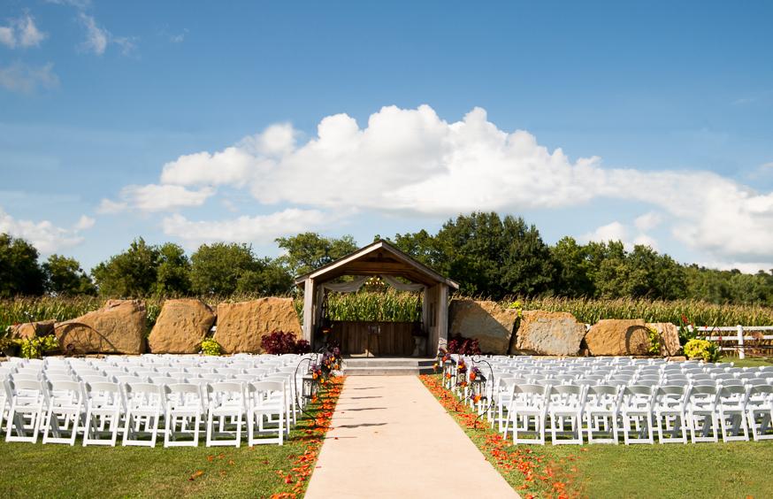 Wedding ceremony at country wedding venue Berry Acres in Odessa, Missouri