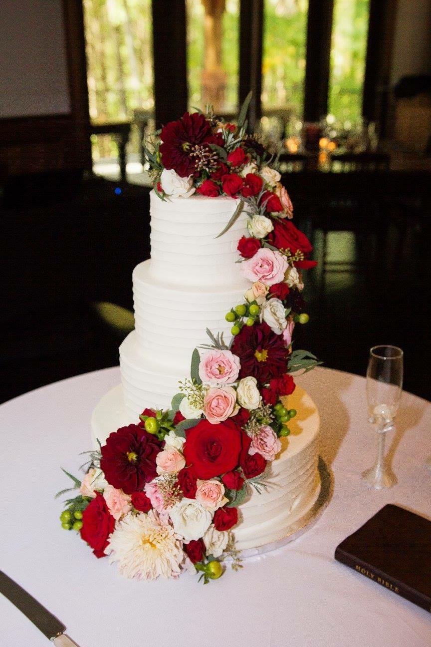 Red Rustic Wedding Cake