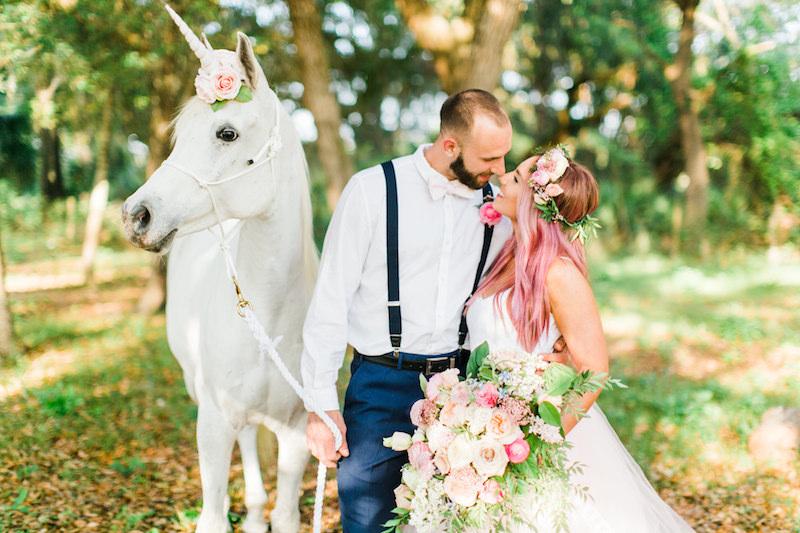 Unicorn-Inspired Wedding Bride and Groom