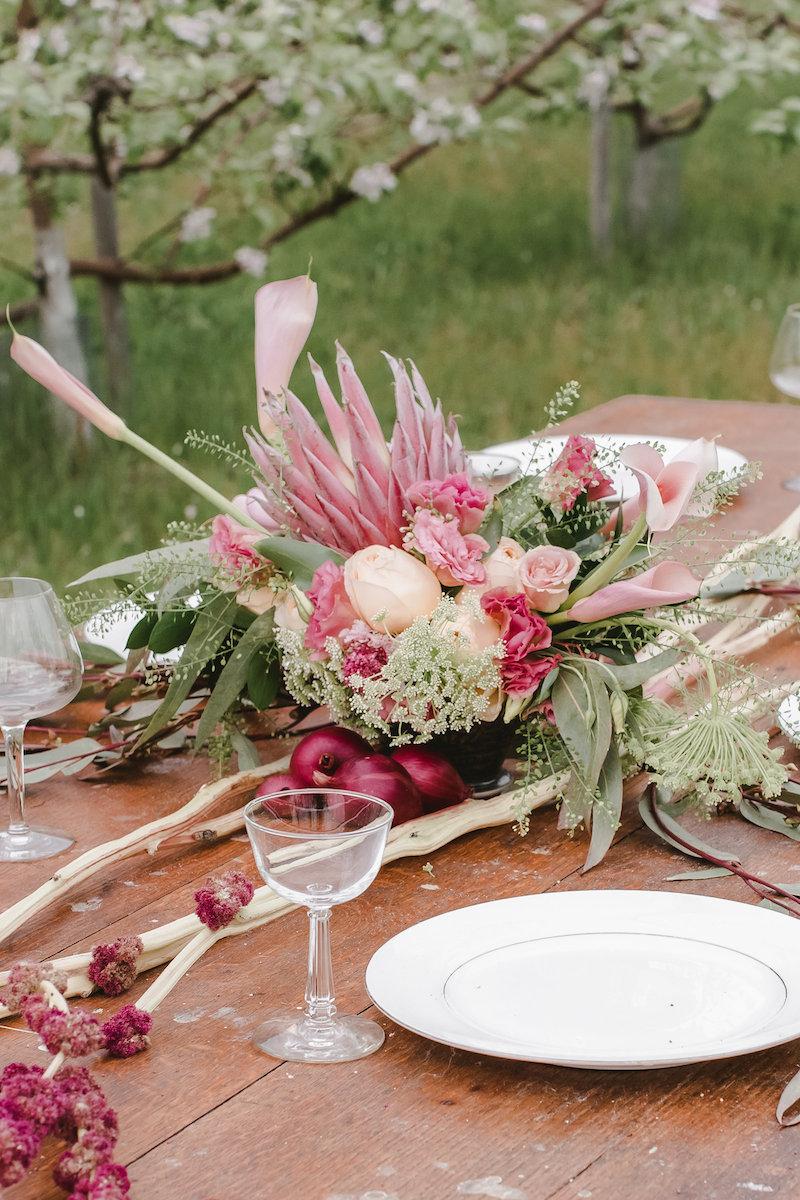 Pink Rustic Wedding Centerpiece