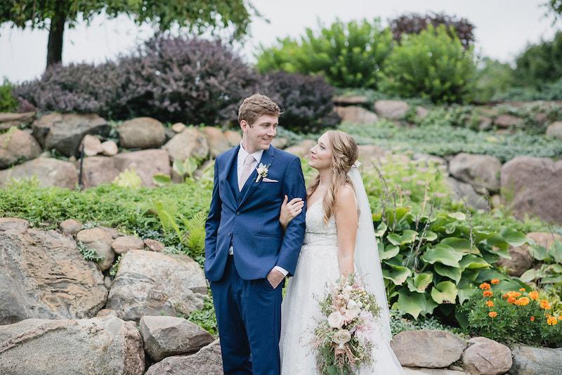 Bride and groom at barn wedding at Nixon Farms in Michigan