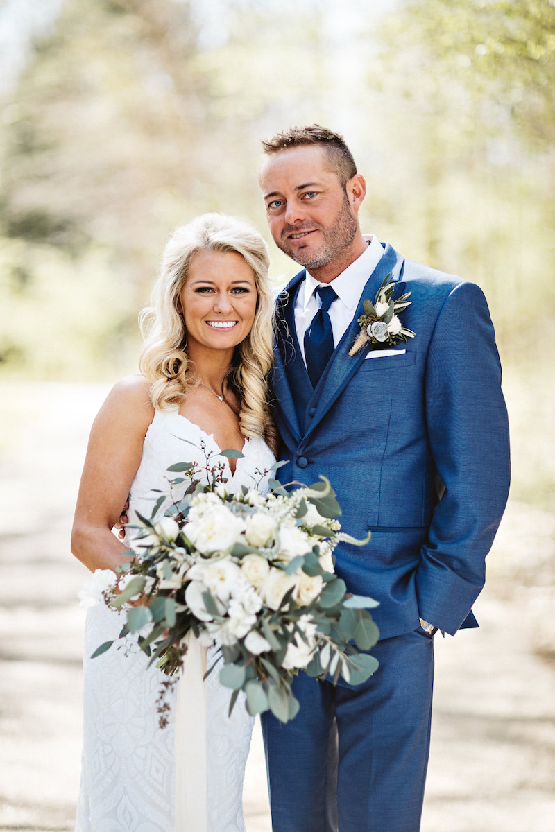 Bride and groom at barn wedding at Spring Creek Ranch in Tennessee