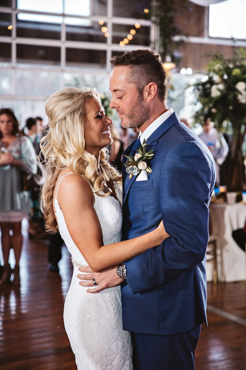 Bride and groom first dance at barn wedding at Spring Creek Ranch in Tennessee