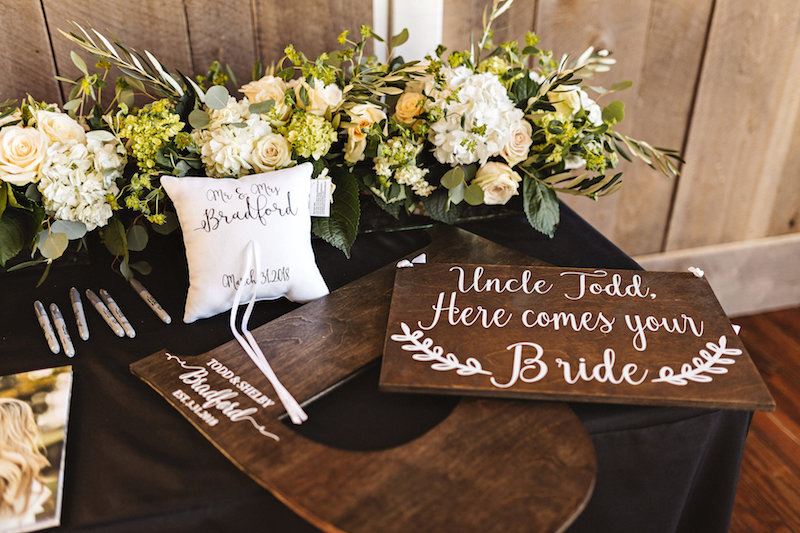 Guest book table at barn wedding at Spring Creek Ranch in Tennessee