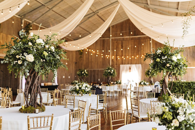 Wedding reception at barn wedding at Spring Creek Ranch in Tennessee