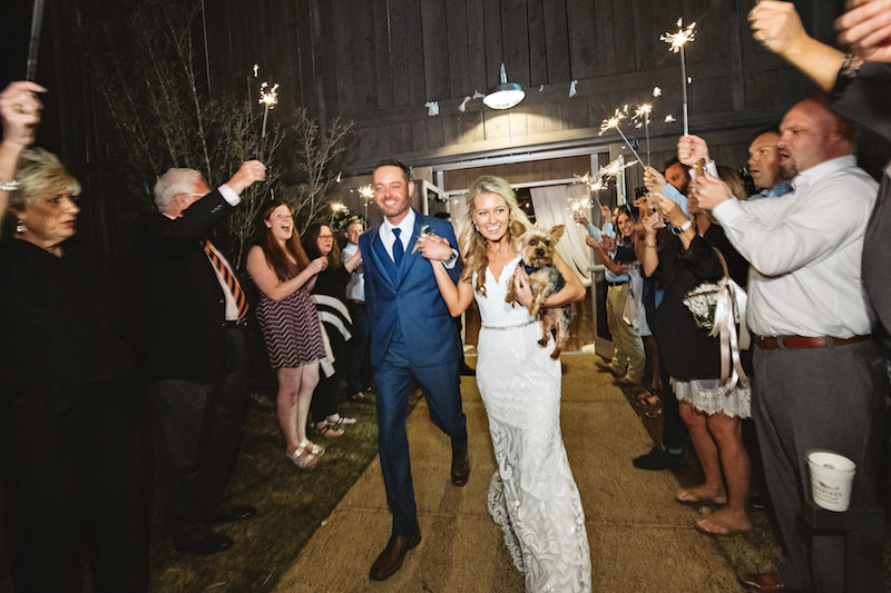 Wedding sparklers at barn wedding at Spring Creek Ranch in Tennessee