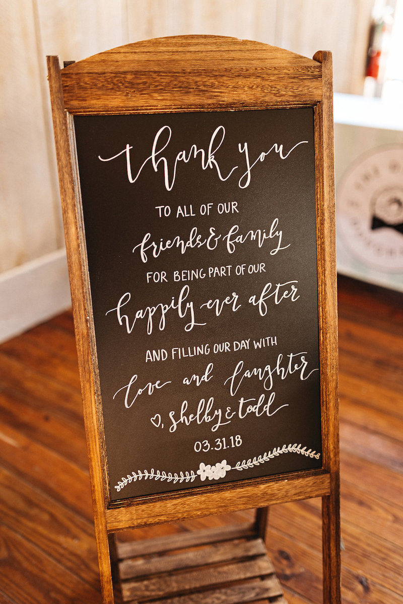 Wedding thank you sign at barn wedding at Spring Creek Ranch in Tennessee